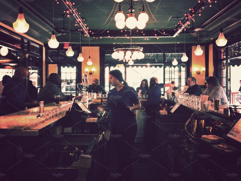 Sitting At A Restaurant Bar People Photos Creative Market