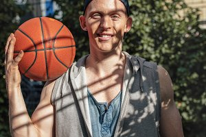 Handsome young basketball player
