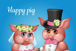 Cute couple pigs in wedding suits