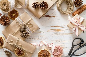 Christmas presents in rustic wrap