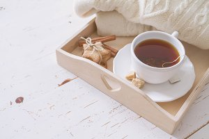 Tea tray and sweater