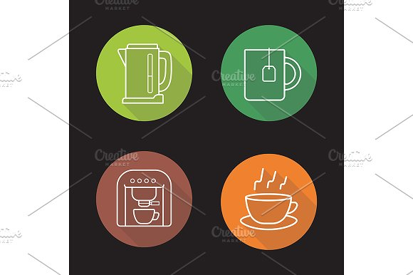 Tea and coffee. 4 icons. Vector - Icons