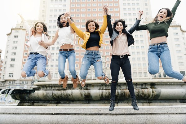 Women Jumping Friendship.