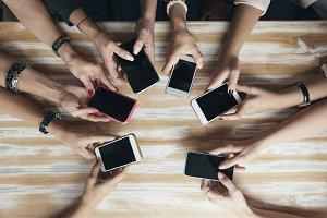 View hands circle using phone
