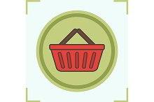 Supermarket basket icon. Vector