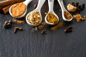 Selection of spices for christmas and thanksgiving