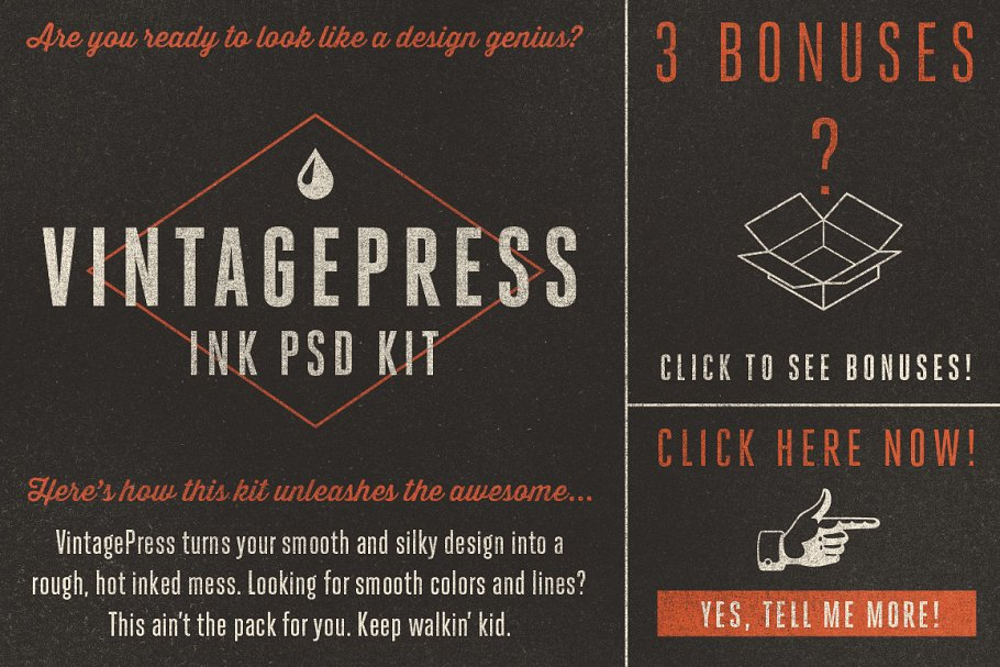 VintagePress - Ink Plate Effects ~ Photoshop Add-Ons ~ Creative Market
