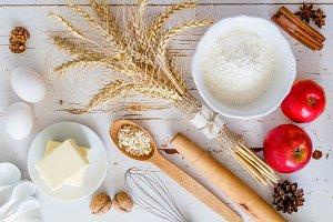 Ingredients for baking - milk, butter, eggs, flour, wheat