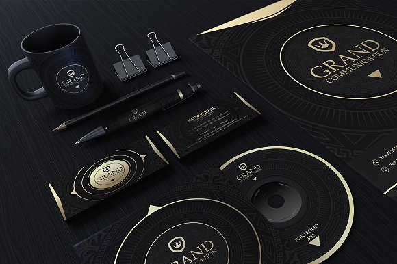 gold and black corporate identity stationery templates creative