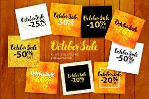 October Sale Lettering Design