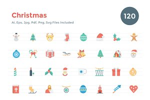 120 Flat Christmas Vector Icons