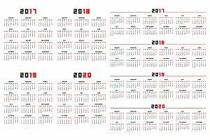 Calendar for 2017, 2018, 2019, 2020