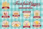 Fast food logos set