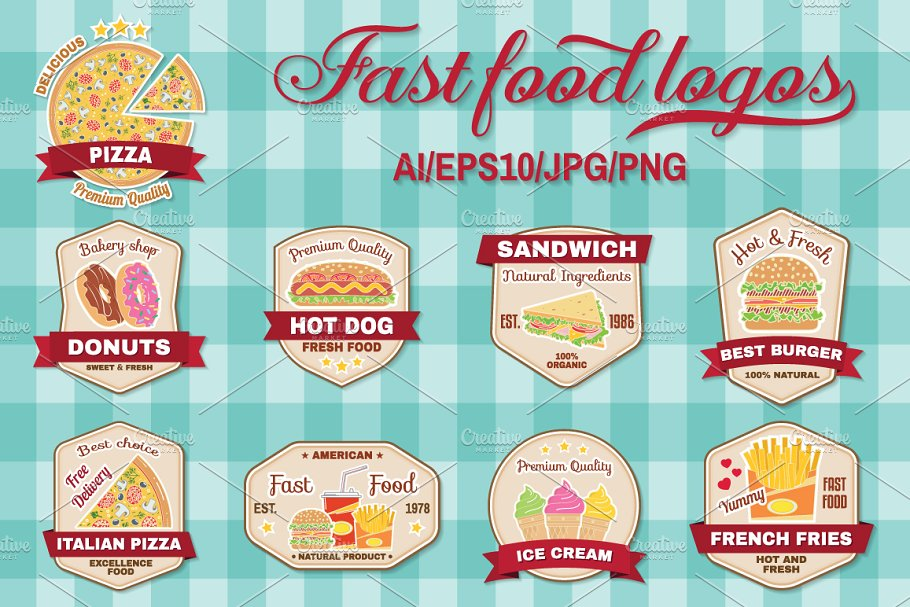 Fast Food Logos Set Creative Illustrator Templates Creative Market