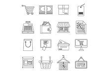 Shopping icons set, outline style