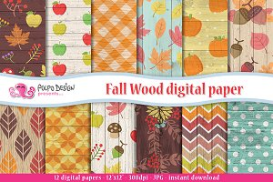 Fall Wood digital paper