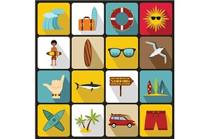 Surfing icons set, flat style