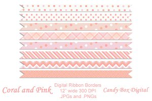 Coral and Pink Ribbon Borders