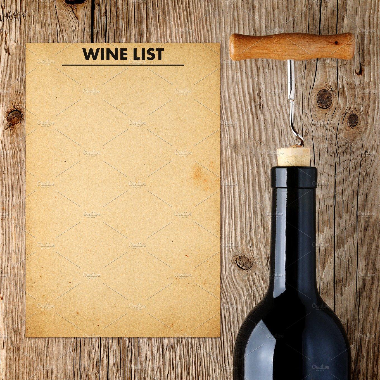 wine list template and wine bottle food drink photos creative market. Black Bedroom Furniture Sets. Home Design Ideas