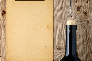 Wine list template and wine bottle