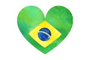 Watercolor Brazilian flag heart