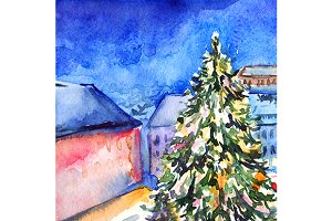 Watercolor Christmas tree artwork