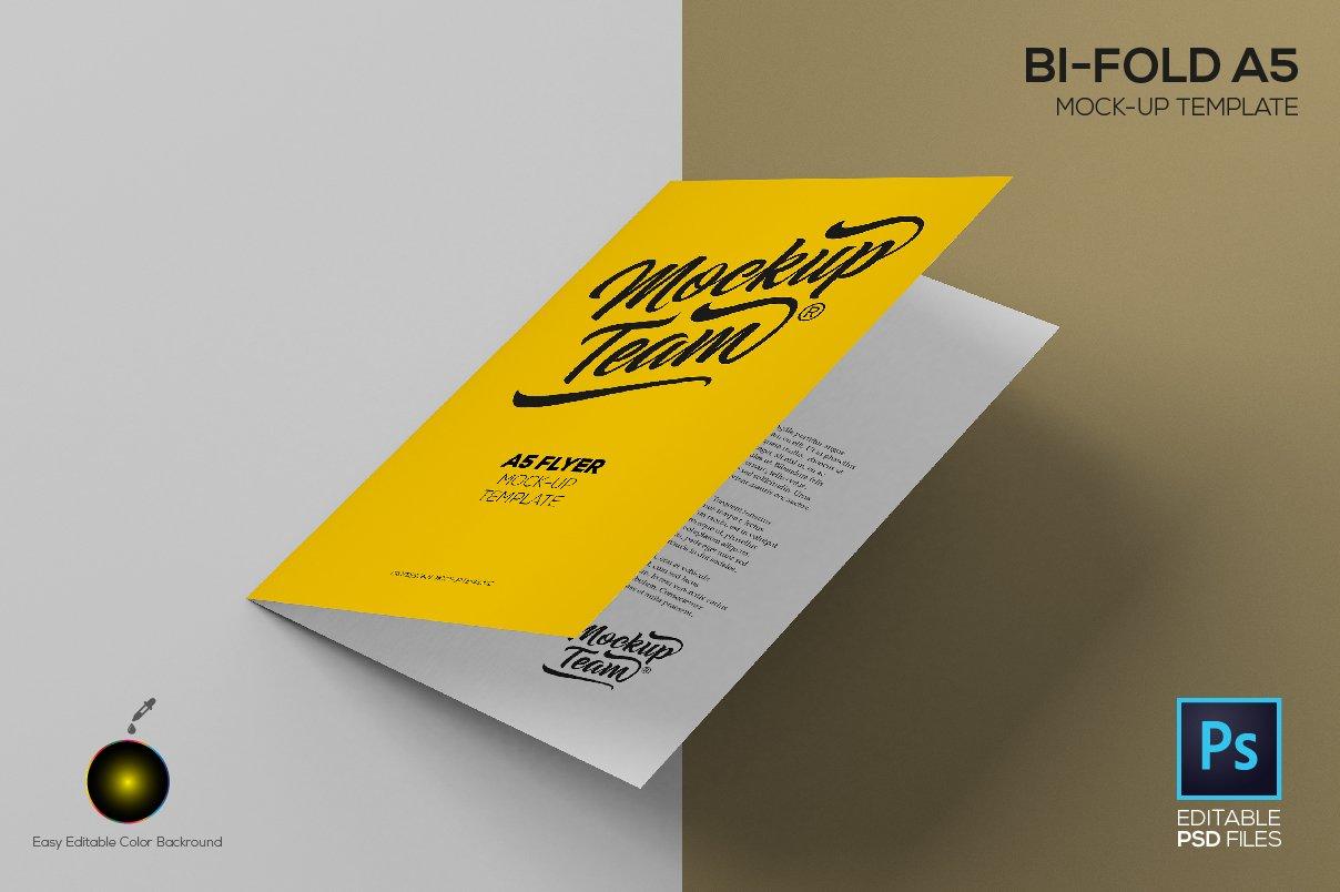 bi fold a5 mock up template product mockups creative market. Black Bedroom Furniture Sets. Home Design Ideas