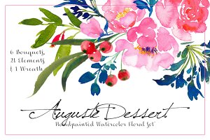 Auguste Dessert - Watercolor Floral