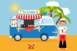 Ice cream truck vector illustration