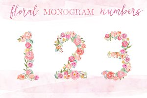 Watercolor Monogram Numbers