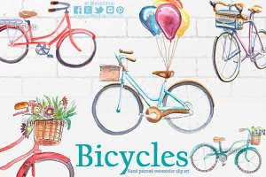 Bicycles watercolor clip art