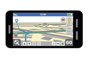 Smartphone with GPS navigator.