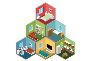 Flat 3d isometric house interior.
