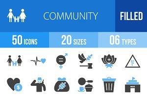 50 Community Blue & Black Icons