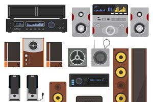 Home stereo flat vector