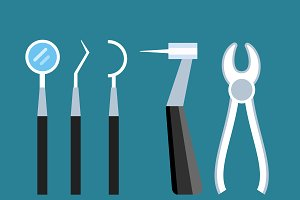 Dentist doctor tools vector