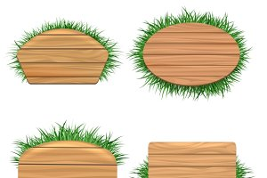 Clean wood banners with grass