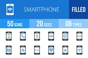 50 Smartphone Blue & Black Icons