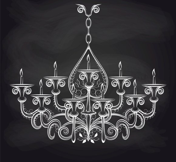 Antique chandeliar on chalkbord