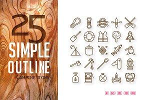 25 Camping icons set