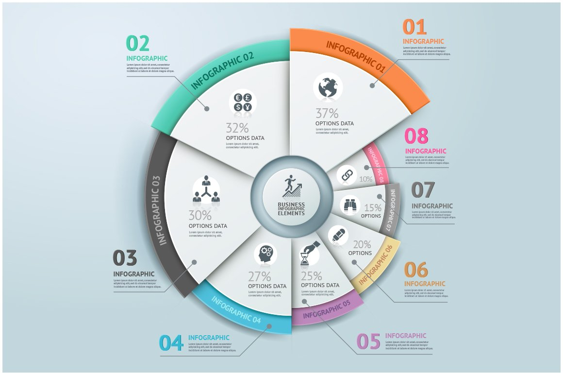 Business infographic circle template presentation templates business infographic circle template presentation templates creative market ccuart Images