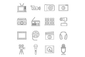 Audio and video icons set