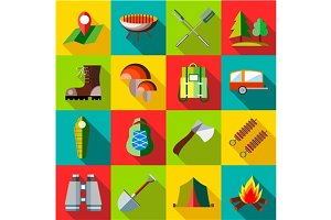 Camping icons set, flat style