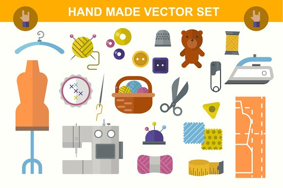 Hand Made flat vector set in Objects