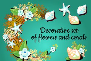 Decor cards with corals and flowers