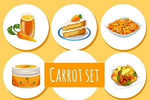 8 icons of carrot dishes and drinks