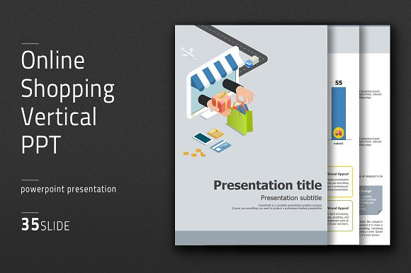 online shopping vertical ppt presentation templates creative market