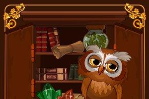 Wise owl sitting on a bookshelf