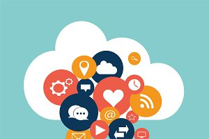 Cloud with social media icons