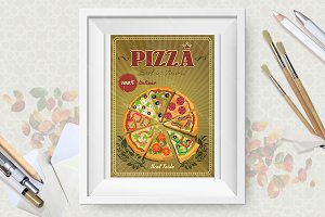 Set of pizza posters